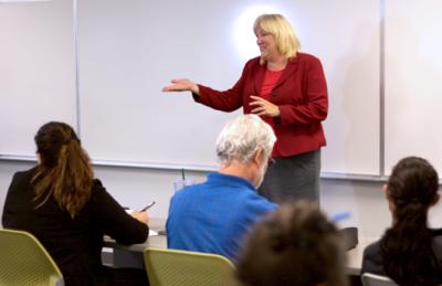 Monica Estrella delivers entrepreneurial instruction for the Inland Empire Center for Entrepreneurship program's Entrepreneurial Technician series.